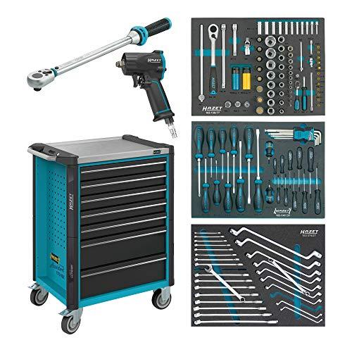 HAZET Werkstattwagen Assistent 179NX-7/137 Schubladen flach: 5x 77x522x398 mm Schubladen hoch: 2x 162x522x398 mm Anzahl Werkzeuge: 317