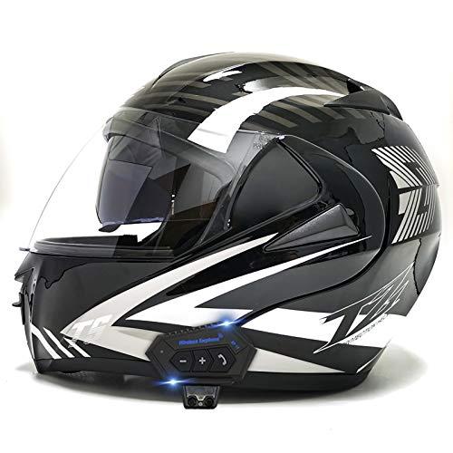 TKTTBD Casco De Moto Modular Bluetooth Integrado con Doble Anti Niebla Visera Cascos De Motocicleta ECE Homologado A Prueba De Viento Respuesta Automática Manos Libres G,L
