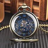 XQKQ Reloj de Bolsillo Reloj de Bolsillo mecánico con Esfera Negra mística Reloj de Bolsillo de Cuerda Manual con Pantalla de números Romanos Azules Transparentes para Hombres