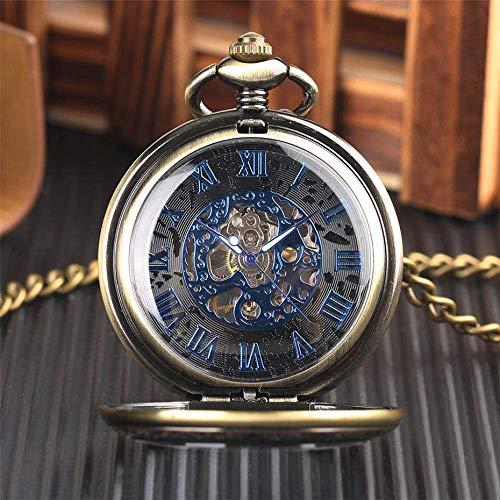 SHKUU Reloj Bolsillo Vintage clásico místico Esfera Negra mecánica Transparente Azul números Romanos Pantalla para Regalo cumpleaños Navidad