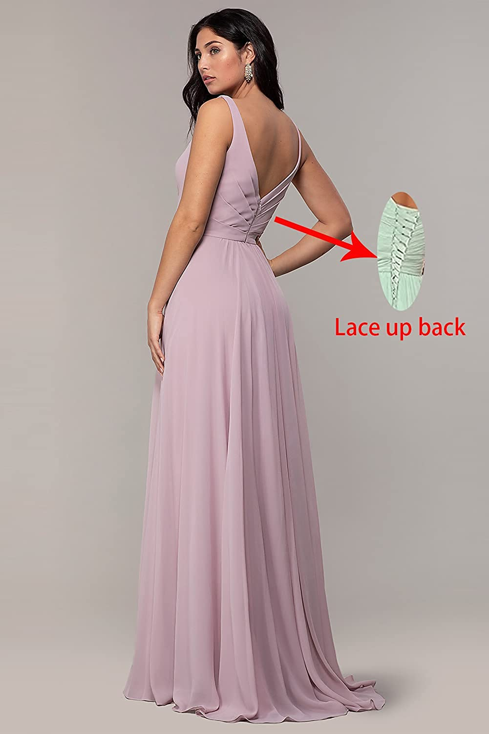 TiznIog Women's V Neck Bridesmaid Dresses with Slit 2021 Long Formal Party Dress for Weddings