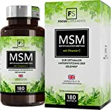 MSM Tablets 1200mg Methylsulfonylmethane Plus Vitamin C (180 Capsules) by Focus Supplements | Joint & Antioxidant Support | Boost Muscle Recovery | Vegan, Non-GMO, Gluten & Dairy Free