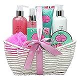 Bath and Body Works Set with Rose Garden Scent For Women - Spa Bath Kit & Bath Gift Basket Birthday Gift includes Body Lotion, Bubble Bath, Body Scrub, Bath Puff, Bath Salt & Butter