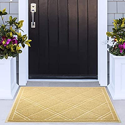 Delxo 42x35 inch Entrance Doormat No Odor Durable Anti-Slip Rubber Back Front Doormat with Shoes Scraper for Scraping Mud, Snow, Sand in High Traffic Areas (Beige)