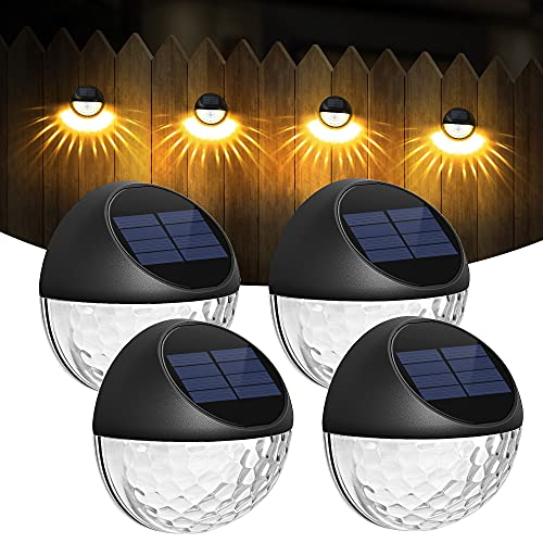 COKWEL Lámparas Solares para Decoración de Jardín al Aire Libre de 4 Piezas, Luces Solares Impermeables IP65 para Balcones, Luces de Pared para Exteriores para Terraza, Valla, Escaleras, Escalones