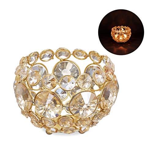 Relaxdays kristal theelichthouder, kandelaar glas, bol kandelaar voor theelichtje, thealight houder 11,5 cm diameter, goud
