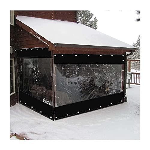XFLOFE Exterior Cortina, Cenadores Balcón Lona Jardín Paneles Laterales PVC 0,5 Mm Transparente Impermeable con Ojal por Garaje, Balcón, Pérgola (Color : Black, Size : 3x2.2m/9.8x7.2ft)