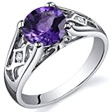 Amethyst Cathedral Ring Sterling Silver 1.25 Carats Size 5