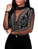 SEBOWEL Damen Sexy Strass Mesh Body Club Party Langarm Bodysuit Bluse Tops, #15 Black, M