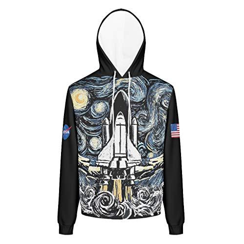 DOGCATPIG Men's Sweater NASA Light Shine Long sleeve drawstring hoodie for Men white 5xl