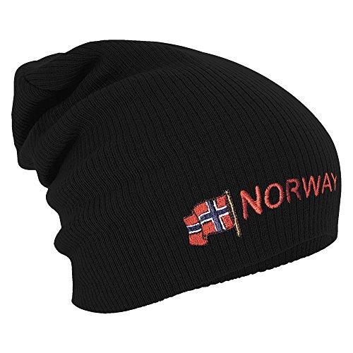 Fan-O-Menal Textilien Longbeanie Slouch-Beanie Mütze Norwegen mit Fahne 54594 Farbe schwarz