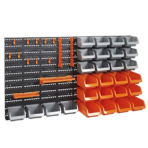 VonHaus 44 Piece Wall Mounted Pegboard Hook, Storage Bins and Panel Set - DIY Garage Storage Wall...
