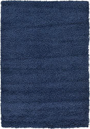 Unique Loom Solo Solid Shag Collection Alfombra Moderna de Felpa Azul Marino (125 x 185), 3127894