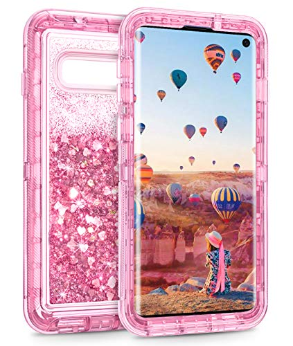 Coolden Case for Galaxy S10 Cases Protective Glitter Case for Women Girls Cute Bling Sparkle 3D Quicksand Heavy Duty Cover Hard Shell Shockproof TPU Case for 6.1 Inches Samsung Galaxy S10, Pink