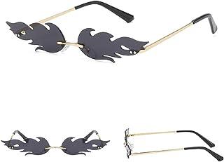 Glomab - Glomab Gafas de Sol Unisex Flame, Gafas de Sol sin Montura, Wave Gafas de Sol estrechas de Lujo para los cumpleaños, la graduación, la Boda o los favores de Partido