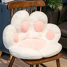 whxscsm Cojín de asiento de gato con forma de pata de gato, cojín de silla de sofá, cojín de silla de oficina, tapete de piso cálido agradable al tacto para la oficina en el hogar (blanco)