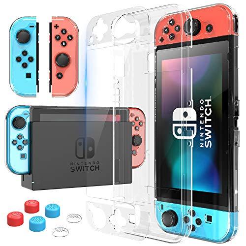 HEYSTOP Carcasa Nintendo Switch, Funda Nintendo Switch con Protector de Pantalla para Nintendo Switch Console y Joy Cons con Agarres para el Pulgar, Nueva Actualización 2020