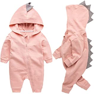 Newborn Baby Boys Girls Cartoon Dinosaur Hoodie Romper Onesies Jumpsuit Outfits
