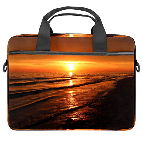 Laptop Tote Bag Computer Rucksack Compatible with Chromebook, MacBook Pro Beach Sunset
