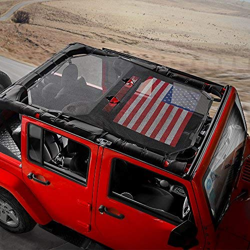 RT-TCZ Sunshade Mesh Shade Top Cover US Flag Durable Sun Shade for Jeep Wrangler 2007-2017 JK JKU 4 Door Black Red US Flag