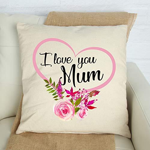 Funda de cojín I Love You Mum de 45,7 x 45,7 cm, para decoración del hogar, gran regalo floral con corazón para mamá con flores rosas, regalo personalizado para mamá