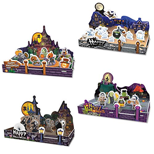 Jofan 4 Pack Halloween 3D Puzzle Toys Paper Halloween Crafts for Kids Girls Boys Halloween Party Favors Halloween Treat Bags Gifts
