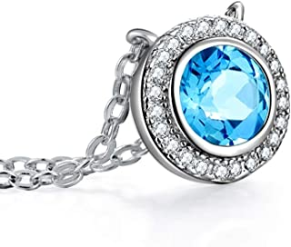 """Necklace Jewelry S925 Silver Inlaid Blue Topaz Necklace Round Pendant Necklace Women's Clavicle Chain With 18"""" Chain Penda..."""