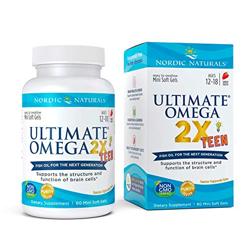 Nordic Naturals Ultimate Omega 2X Teen, Strawberry - 60 Mini Soft Gels - 1120 mg Total Omega-3s with EPA & DHA - Brain Health, Positive Mood, Social Development, Learning - Non-GMO - 30 Servings