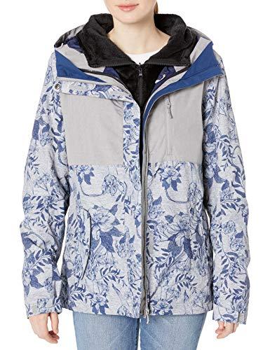 Roxy Snow Junior's Jetty 3N1 Jacket, Heather Grey Botanical Flowers, XS