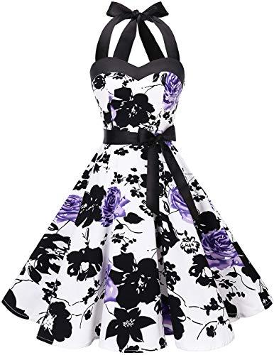 DRESSTELLS Neckholder Rockabilly 1950er Polka Dots Punkte Vintage Retro Cocktailkleid Petticoat Faltenrock White Purple Flower XS