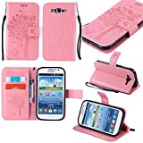 Guran® PU Leder Tasche Etui für Samsung Galaxy Grand Neo Plus/Grand Neo (i9060) Smartphone Flip Cover Stand Hülle & Karte Slot Hülle-rosa