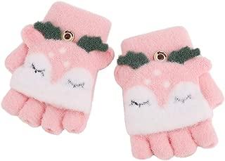 Toddler Babies Lovely Elk Desgin Short Knitted Half Finger Gloves with Flip Top