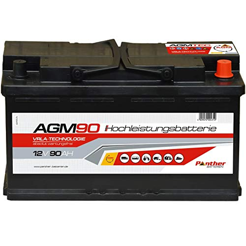 Panther Solarbatterie AGM90 12V 90Ah 900A Auto Versorgung Boot Reha Batterie