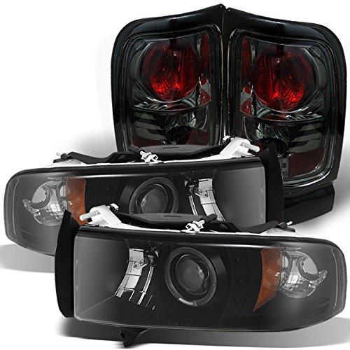 For 94-01 02 Dodge Ram 1500/2500/3500 Black Smoke Halo Projector LED Headlights + Smoked Tail Light Lamp