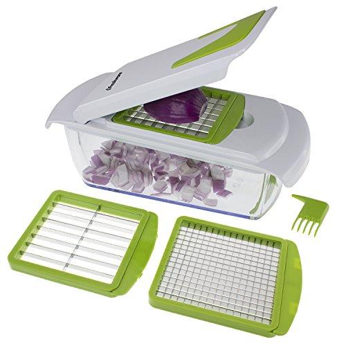 Freshware KT-405 4-in-1 Onion Chopper, Vegetable Slicer, Fruit and Cheese Cutter Container with...