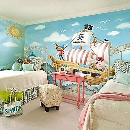 Mur de fond de chambre de dessin animé pour enfants, bateau de