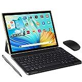 Tablet 10 Pulgadas 5G Android 10 Tableta Ultra-Portátiles 4GB RAM + 64/128GB ROM, Con1.6GHz Core Procesador Núcleos Dual WiFi, Bluetooth con Teclado y Ratón, Certificado Google GMS/OTG/Tpye-C (Oro)