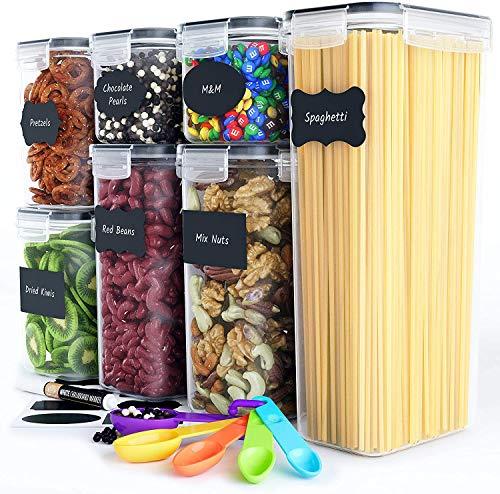 Chef's Path Vorratsdosen Set für Lebensmittel - 7 Stück - BPA-frei - Luftdichte Frischhaltedosen mit Deckel, Ideal für Getreide, Mehl und Zucker - Etiketten, Marker und Löffel-Set
