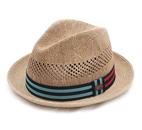 Bailey of Hollywood - Chapeau Trilby Paille Pliable Homme ou Femme Berle - Taille L - Naturel
