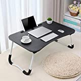 SUNUQ Small Desk Home Bedroom Multipurpose Tabletop, Large Bed Tray Foldable Portable Multifunction Laptop Desk Lazy Laptop Table for Student Dormitory Younger(Black, 23.6x15.7x11 inches)