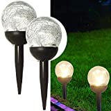 DSDecor 2 Pack Crackle Glass Solar Lights 10 LEDs Decorative Ball Lights with Metal Stake for Outdoor Garden Patio Lawn Yard Path Landscape Decor, Warm White