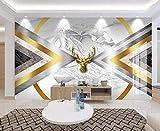 ZZXIAO Papel tapiz panorámico Tapiz de pared 3D Abstracto Dorado Geométrico Marmolado Papel tapiz 3D moderno Dec para cocina Decoración Fotomural sala Pared Pintado Papel tapiz no tejido-430cm×300cm