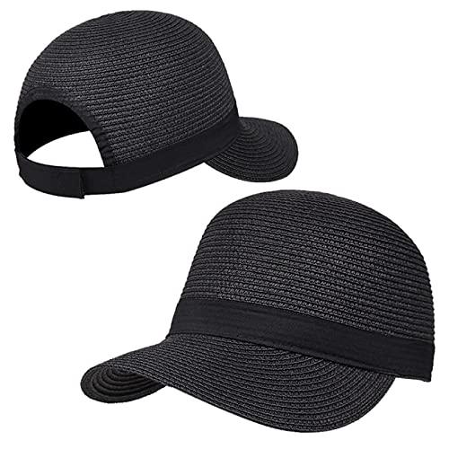 MHBY Sombrero para el Sol, Sombrero de Playa de Ocio para Mujer, Sombrero de ala, Pajarita, Sombrero de Paja para niñas, Sombrero de Cubo para Mujer, Sombrero de Paja para el Sol de Verano