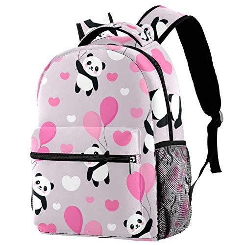 LAZEN Sac à dos décontracté High College & Middle School Bookbag Randonnée Camping Sac à dos Panda volant dans le ciel entre les ballons