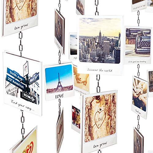 LeTOMA - Fotokette ideal um Fotos und Postkarten senkrecht oder waagerecht an der Decke und Wand aufzuhängen – 150cm lang mit 15 extrastarken Neodym Magneten - Fotoseil, Bilderseil