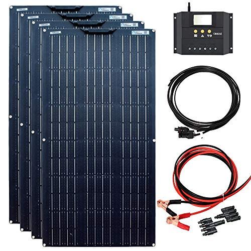 YUANFENGPOWER 400w Solarpanel Kit 4pcs 100W 18V flexible Solarmodule Monomodul 40A Solarregler für Wohnmobil, Boot, Auto, Wohnwagen, 12V Batterieladung (400)