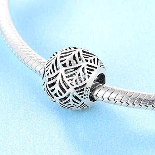 DASFF Regalo del día de San Valentín 925 Cuentas de Hoja Hueca de Moda de Plata esterlina Fit Original Charm Bracelet Jewelry Making