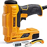 EWORK Electric Staple Gun-Nail Gun for DIY Decoration and Upholstery of Carpentry, 3 Safety Protection Devices, Including Staple Remover, 400 Pcs 5/8'' Brad Nails and 600 Pcs 3/8'' Staples