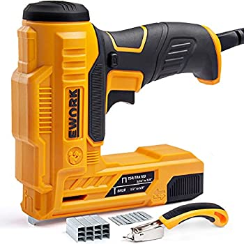EWORK Electric Staple Gun-Nail Gun for DIY Decoration and Upholstery of Carpentry 3 Safety Protection Devices Including Staple Remover 400 Pcs 5/8   Brad Nails and 600 Pcs 3/8   Staples