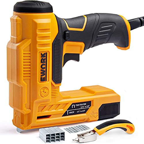 EWORK Electric Brad Nailer/Staple Gun for Upholstery, DIY Project, Carpentry and Woodworking, Electric Nail Gun with 3 Safety Protection Devices, Including Staple Remover, Brad Nails and Staples